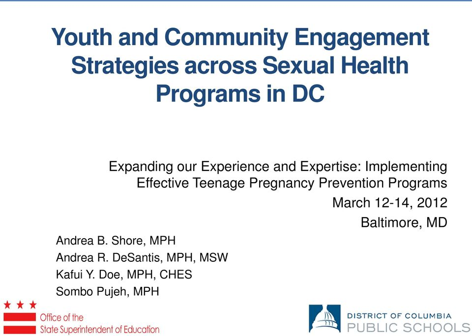 Pregnancy Prevention Programs Andrea B. Shore, MPH Andrea R.