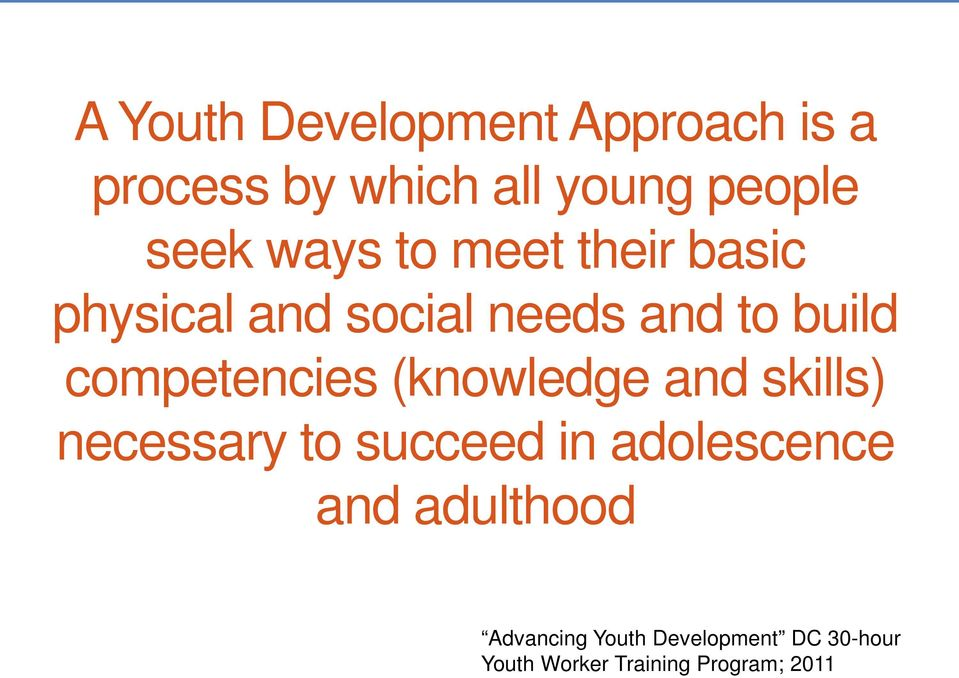 competencies (knowledge and skills) necessary to succeed in adolescence