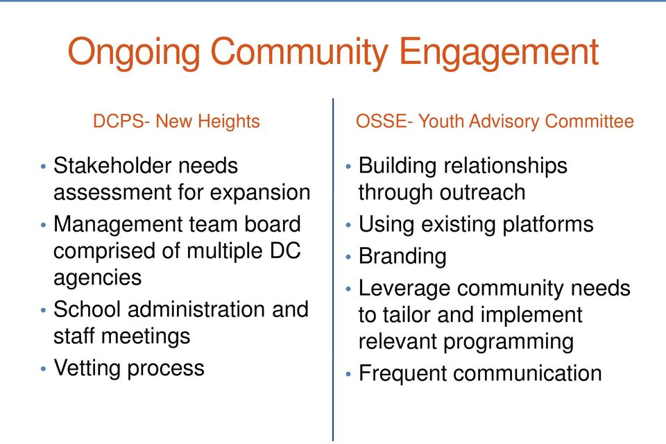 Vetting process OSSE- Youth Advisory Committee Building relationships through outreach Using