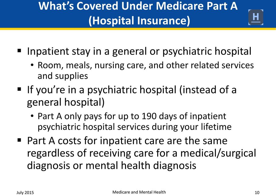 only pays for up to 190 days of inpatient psychiatric hospital services during your lifetime Part A costs for inpatient care are