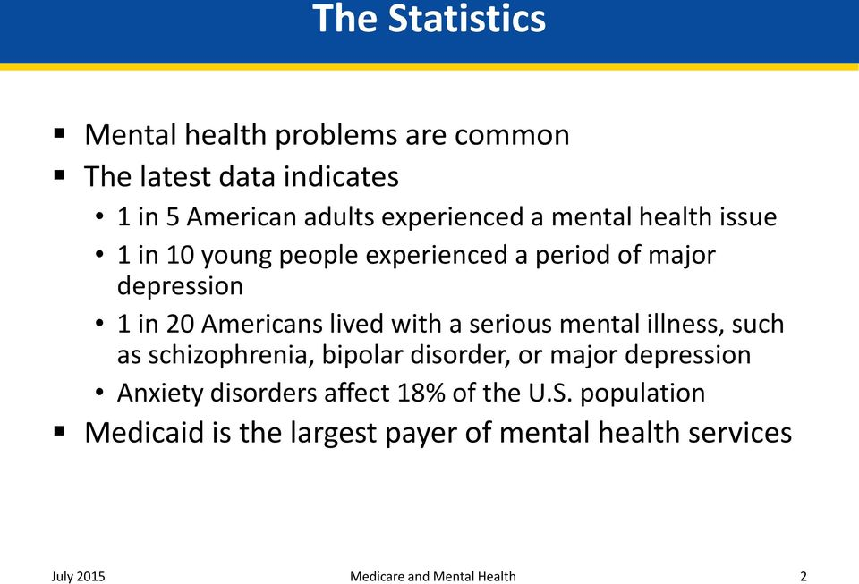 serious mental illness, such as schizophrenia, bipolar disorder, or major depression Anxiety disorders affect 18%