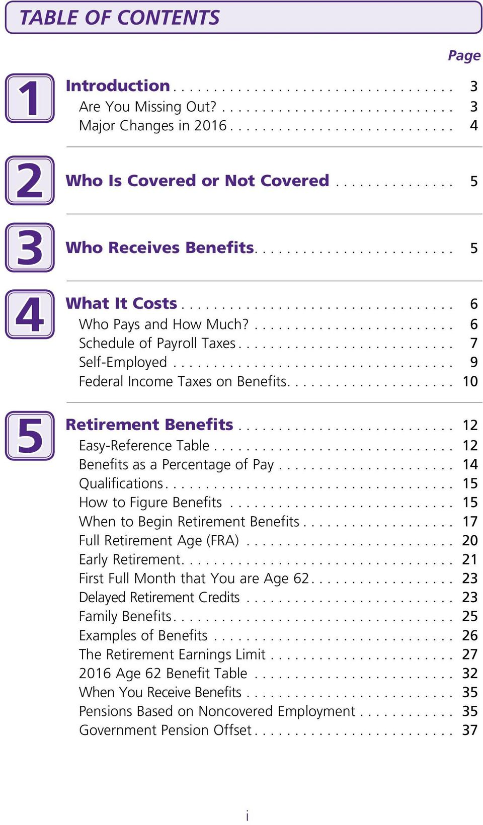 .. 12 Benefits as a Percentage of Pay... 14 Qualifications.... 15 How to Figure Benefits... 15 When to Begin Retirement Benefits... 17 Full Retirement Age (FRA)... 20 Early Retirement.