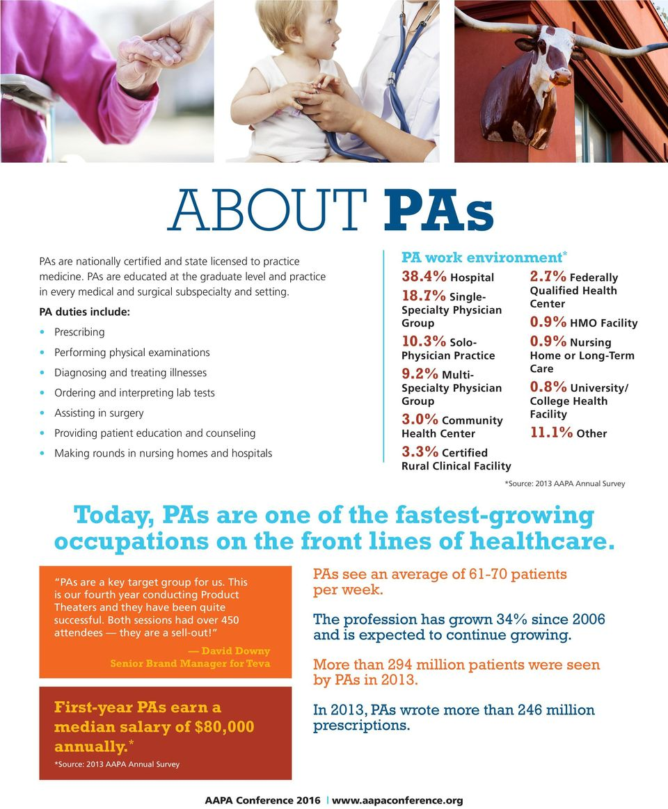 Making rounds in nursing homes and hospitals Today, PAs are one of the fastest-growing occupations on the front lines of healthcare. PAs are a key target group for us.