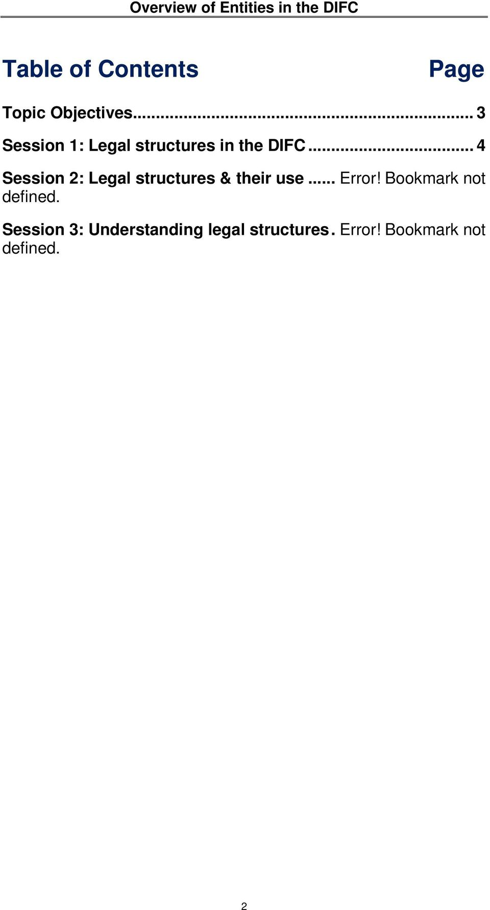 .. 4 Session 2: Legal structures & their use... Error!