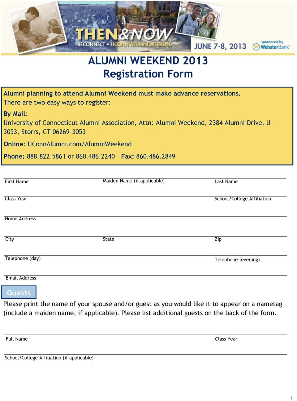 com/AlumniWeekend Phone: 888.822.5861 or 860.486.