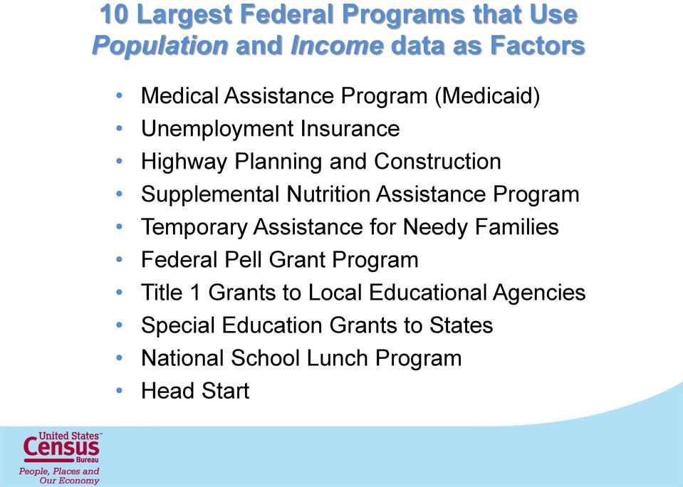 Assistance Program Temporary Assistance for Needy Families Federal Pell Grant Program Title 1