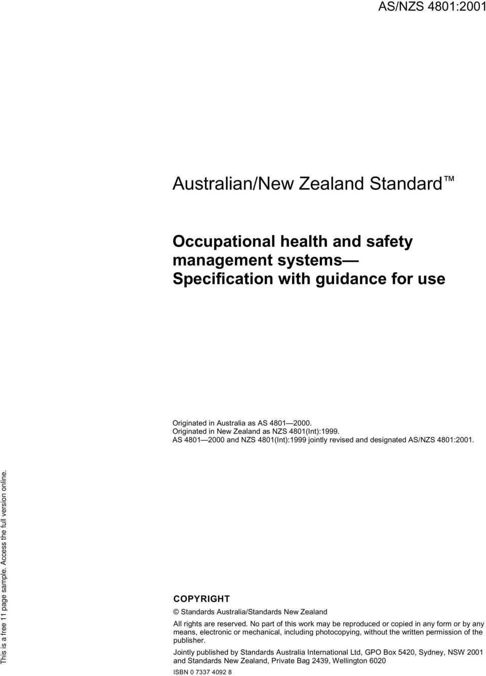 COPYRIGHT Standards Australia/Standards New Zealand All rights are reserved.