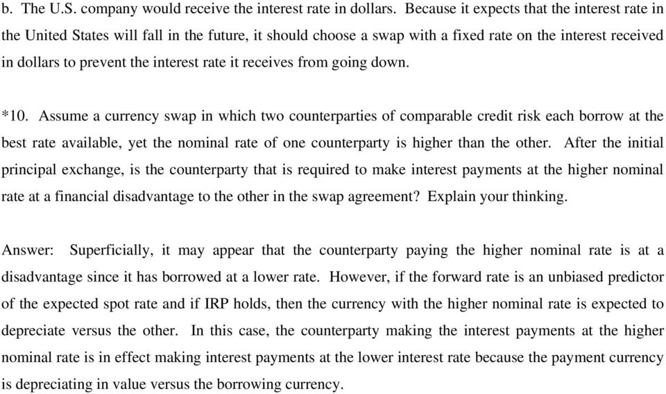 Chapter 14 Interest Rate And Currency Swaps Suggested Answers And