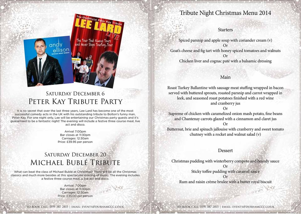 tribute to Bolton s funny man, Peter Kay. For one night only, Lee will be entertaining our Christmas party guests and it s guaranteed to be a fantastic night!