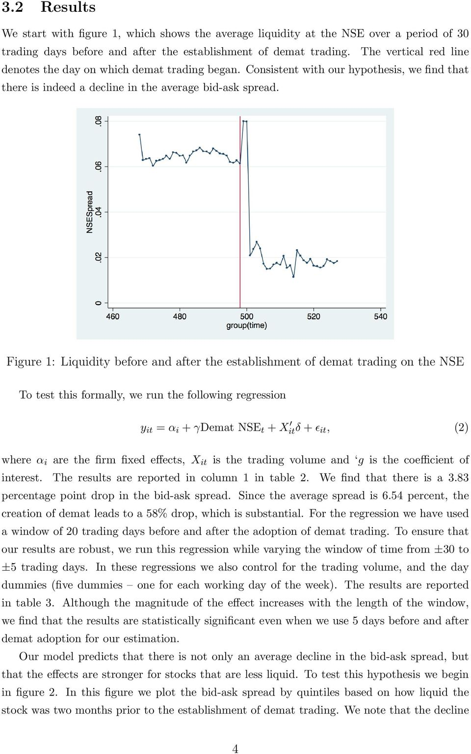 Figure 1: Liquidity before and after the establishment of demat trading on the NSE To test this formally, we run the following regression y it = α i + γdemat NSE t + X itδ + ɛ it, (2) where α i are