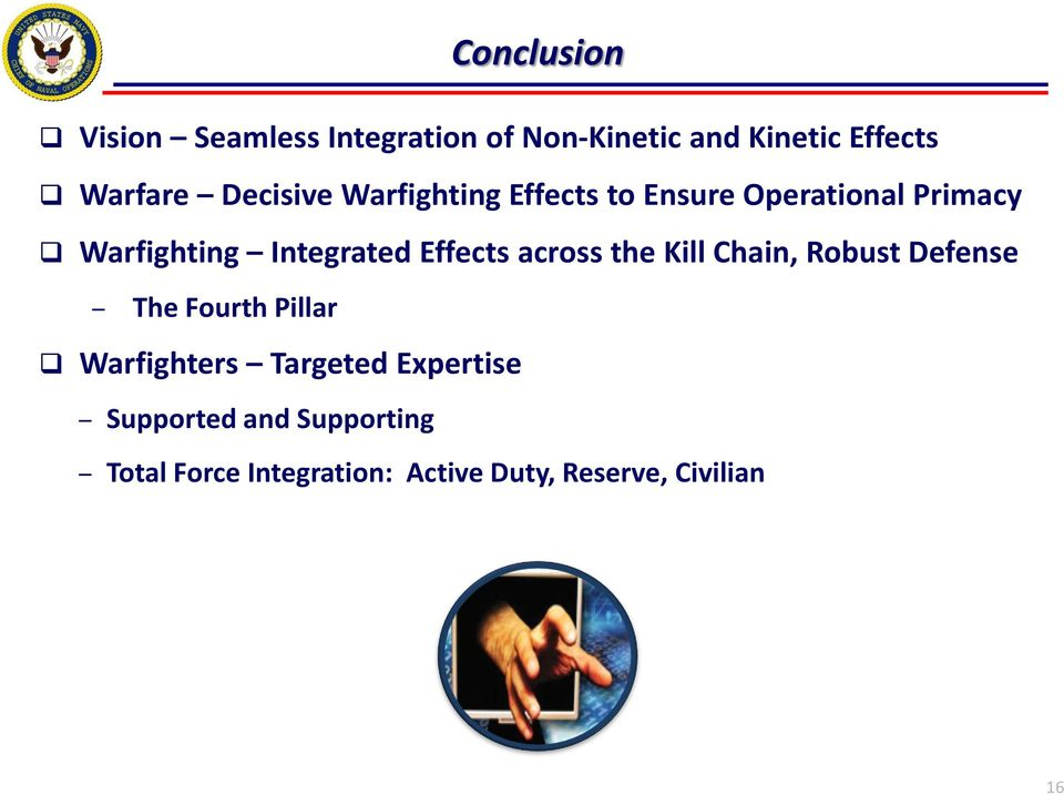 Effects across the Kill Chain, Robust Defense The Fourth Pillar Warfighters Targeted