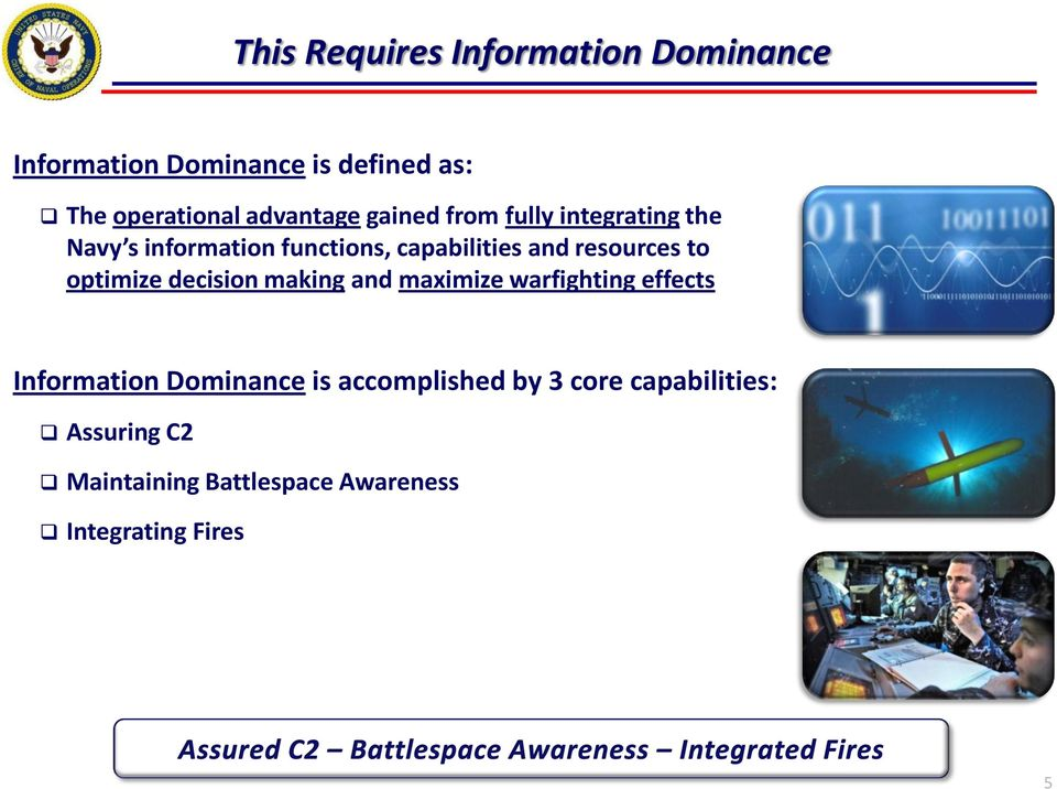 resources to optimize decision making and maximize warfighting effects Information Dominance