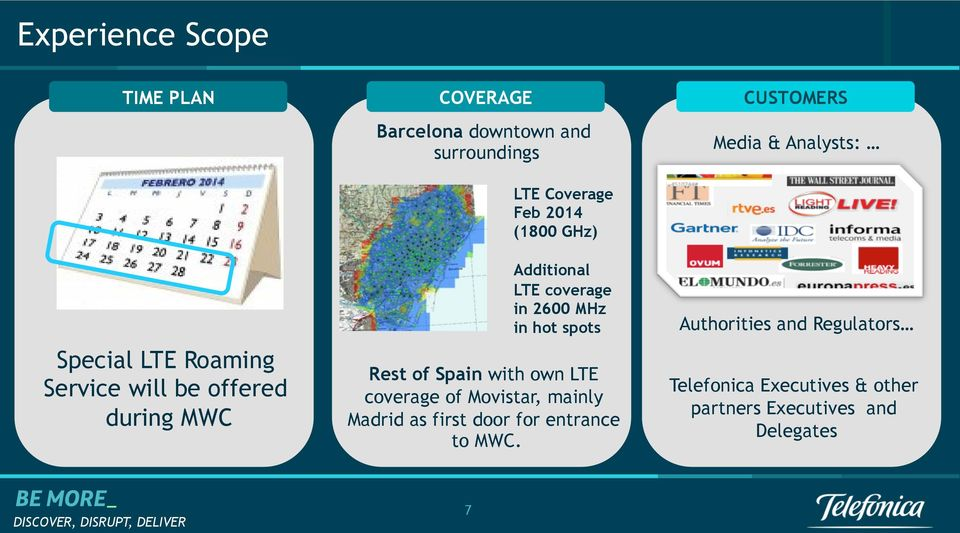 spots Rest of Spain with own LTE coverage of Movistar, mainly Madrid as first door for entrance to MWC.