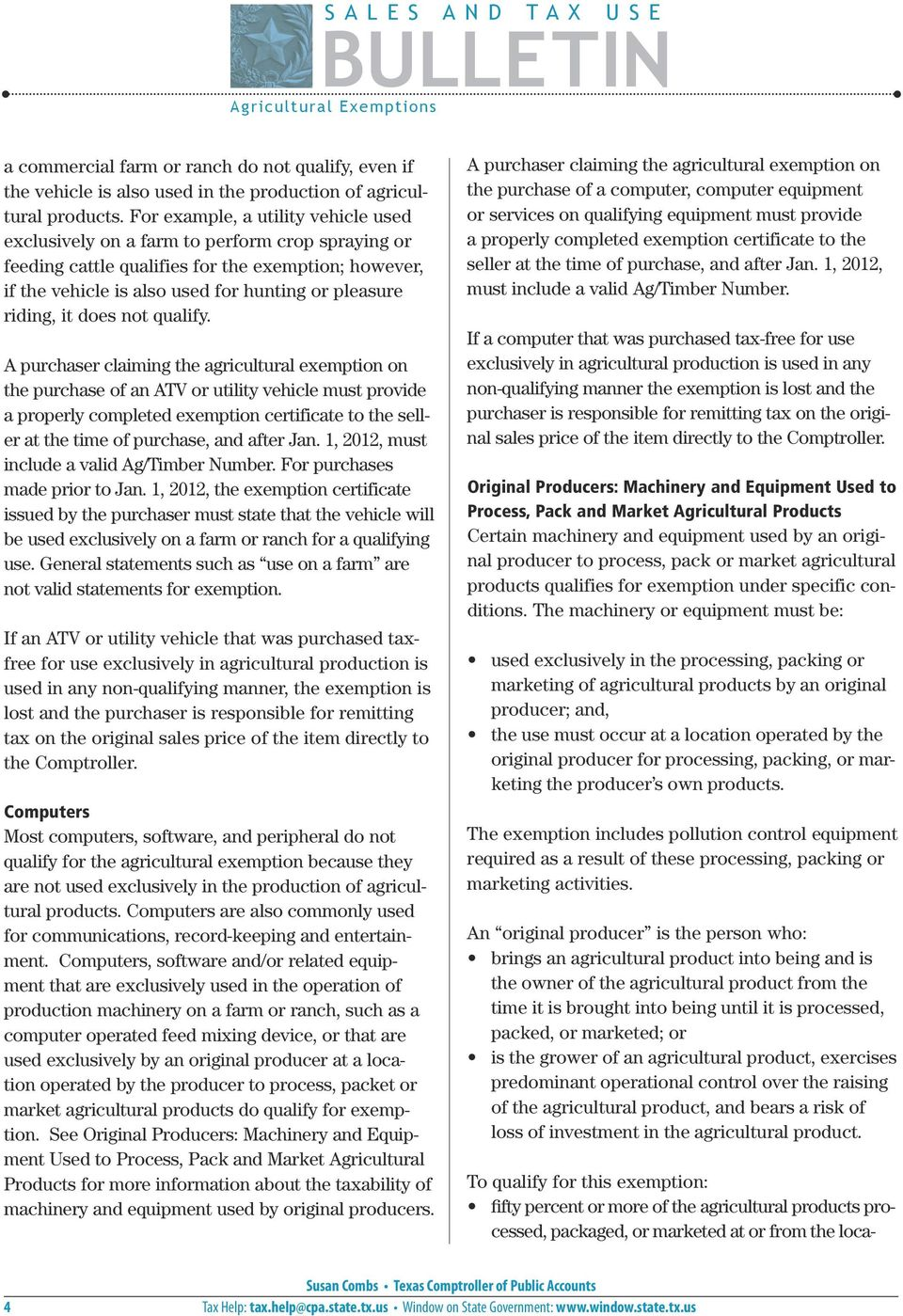Bulletin Tax Exemptions For Agriculture Sales And Use Tax Sales