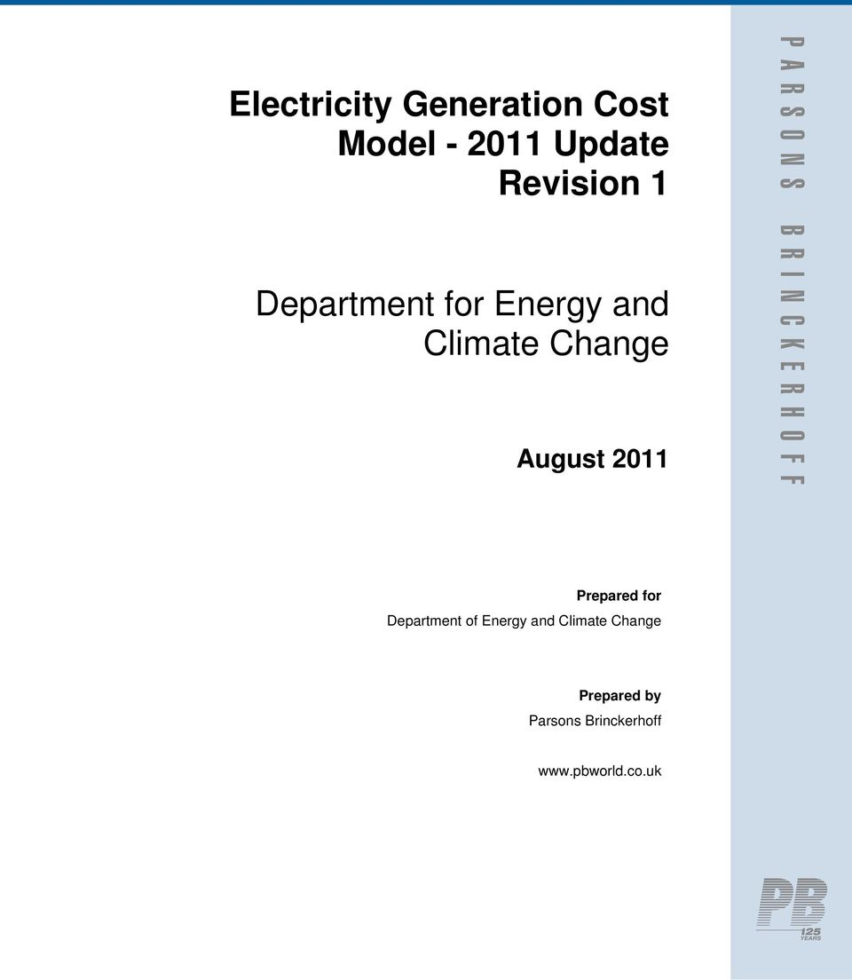 2011 Prepared for Department of Energy and Climate