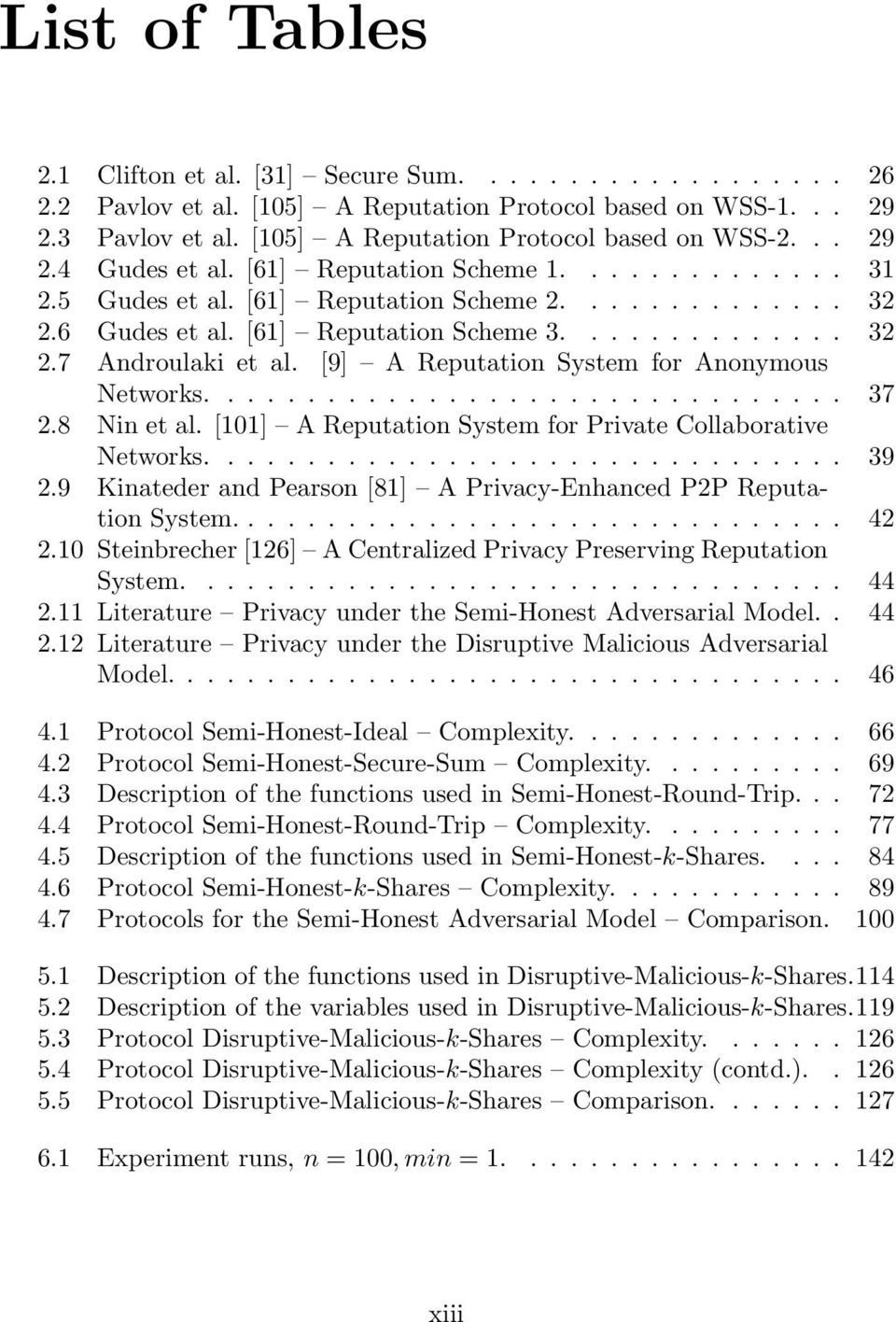 [9] A Reputation System for Anonymous Networks................................ 37 2.8 Nin et al. [101] A Reputation System for Private Collaborative Networks................................ 39 2.