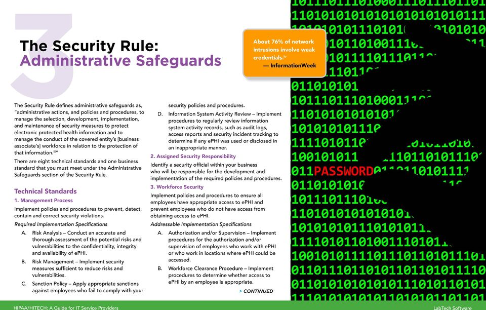 to the protection of that information. iii There are eight technical standards and one business standard that you must meet under the Administrative Safeguards section of the Security Rule.