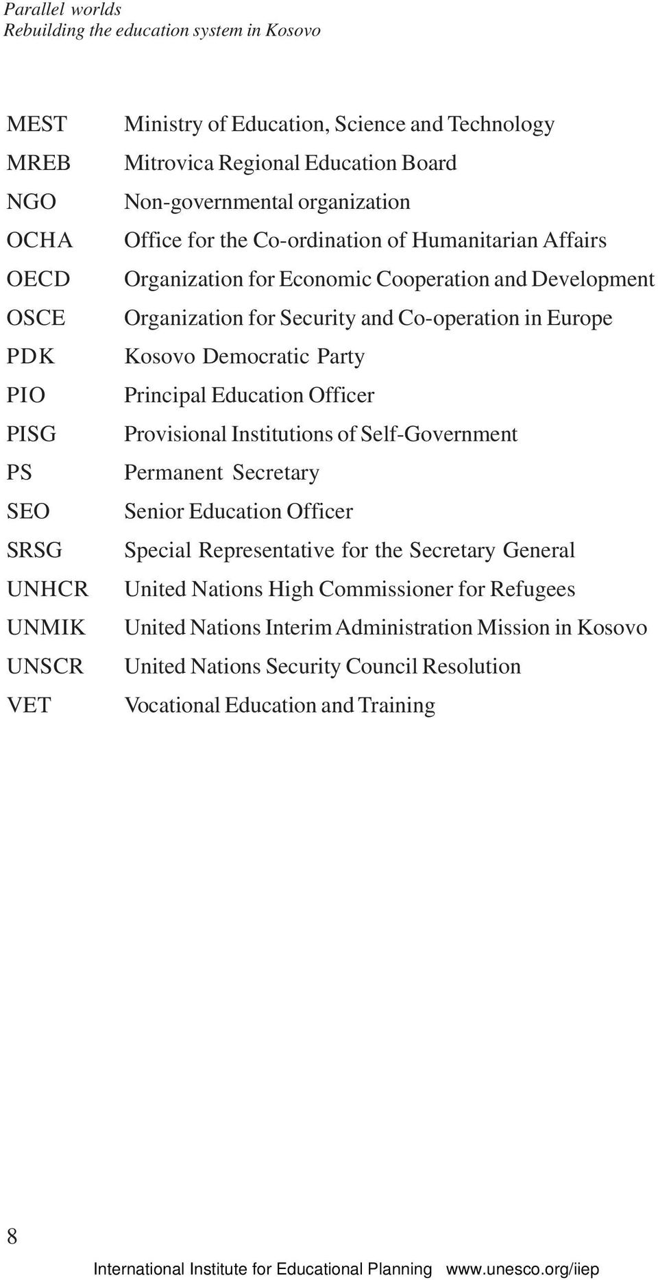 Co-operation in Europe Kosovo Democratic Party Principal Education Officer Provisional Institutions of Self-Government Permanent Secretary Senior Education Officer Special Representative for