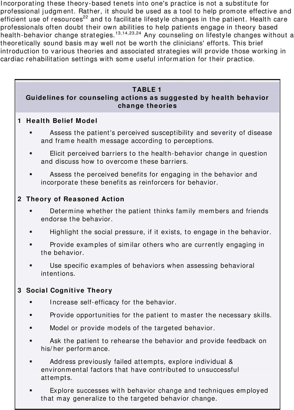 Health care professionals often doubt their own abilities to help patients engage in theory based health-behavior change strategies.