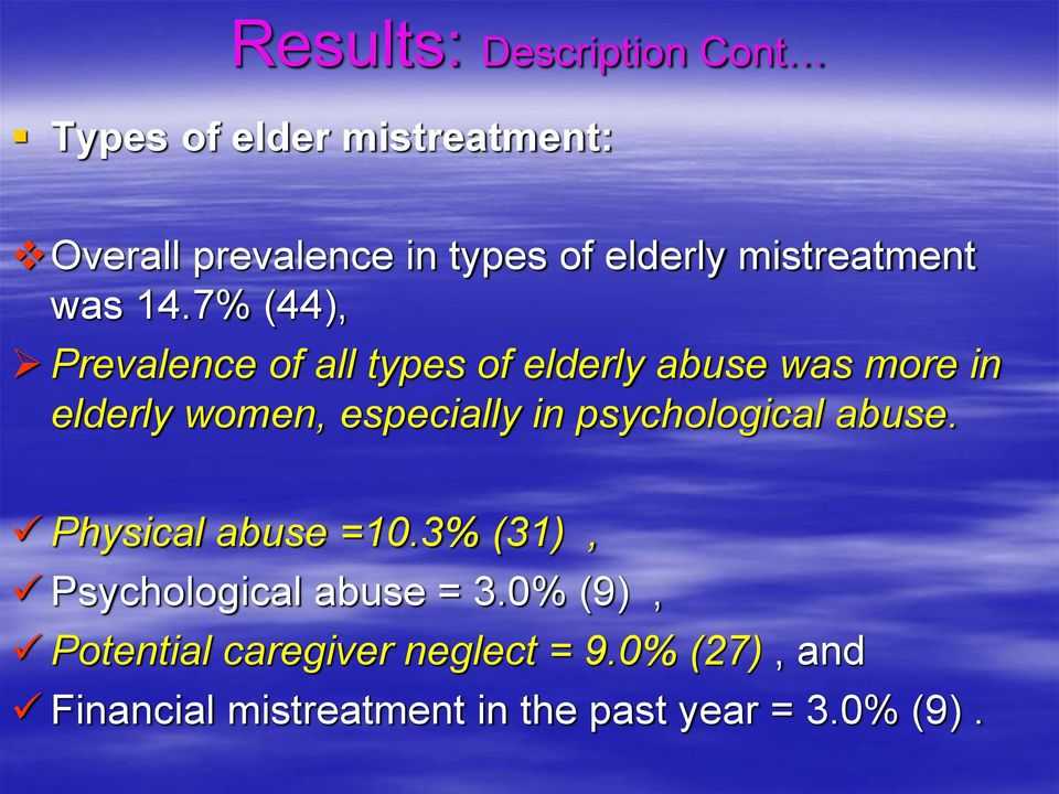 7% (44), Prevalence of all types of elderly abuse was more in elderly women, especially in