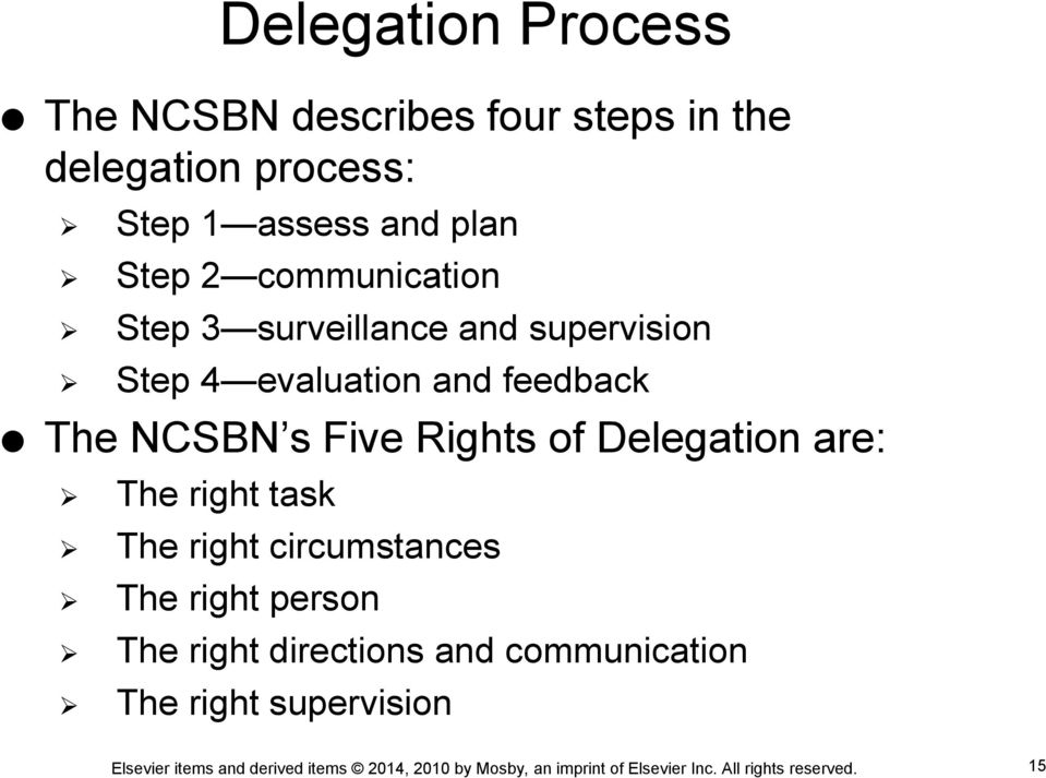 evaluation and feedback The NCSBN s Five Rights of Delegation are: The right task The