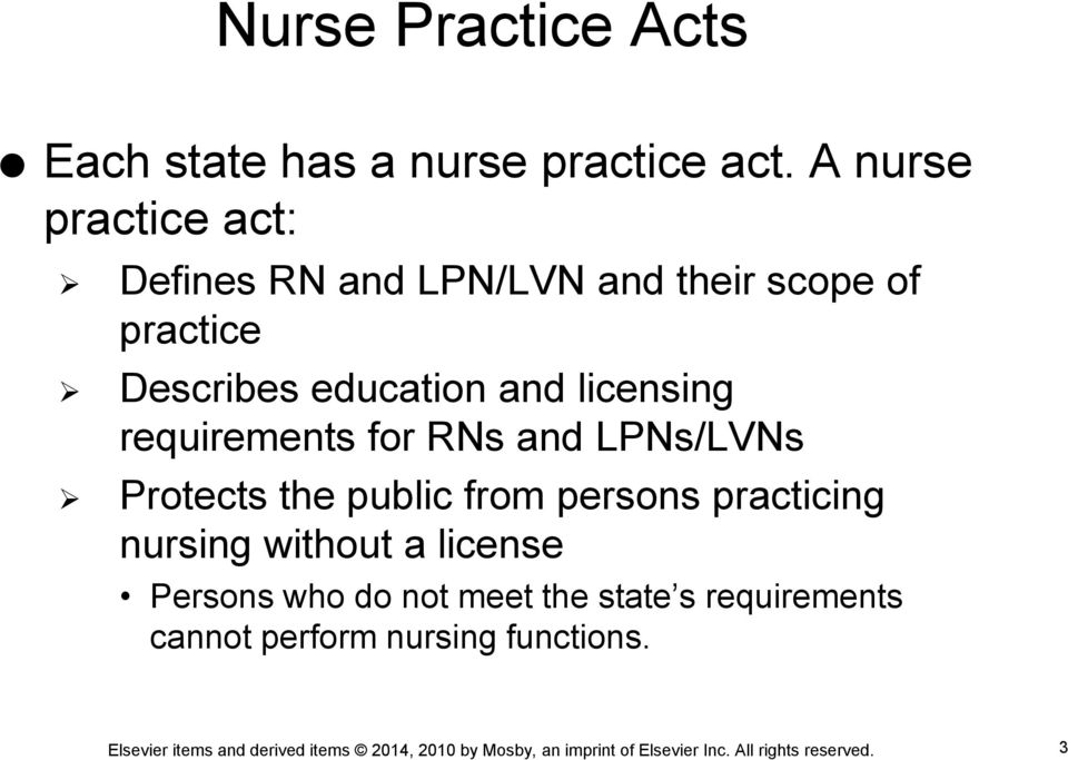 education and licensing requirements for RNs and LPNs/LVNs Protects the public from