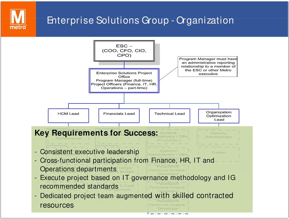 Operations departments - Execute project based on IT governance methodology and IG