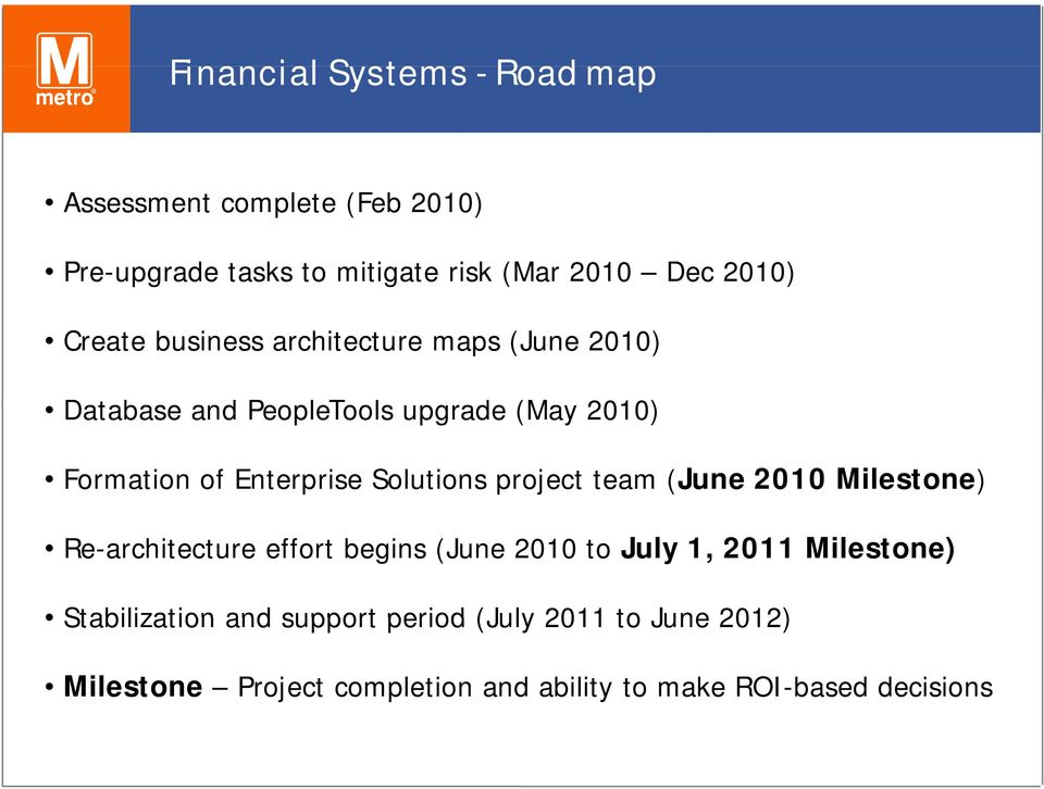Solutions project team (June 2010 Milestone) Re-architecture effort begins (June 2010 to July 1, 2011 Milestone)