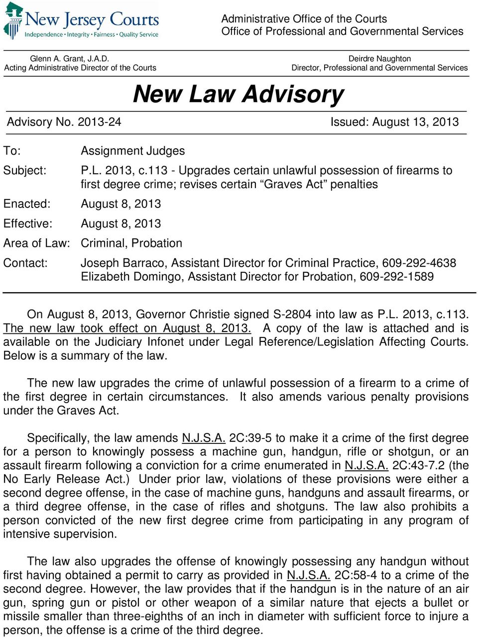 2013-24 Issued: August 13, 2013 To: Subject: Assignment Judges P.L. 2013, c.