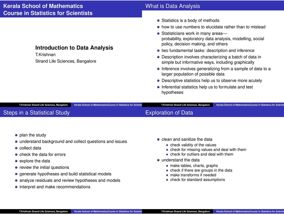 exploratory data analysis, modelling, social policy, decision making, and others two fundamental tasks: description and inference Description involves characterizing a batch of data in simple but