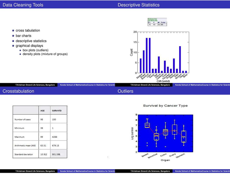 graphical displays box plots (outliers) density