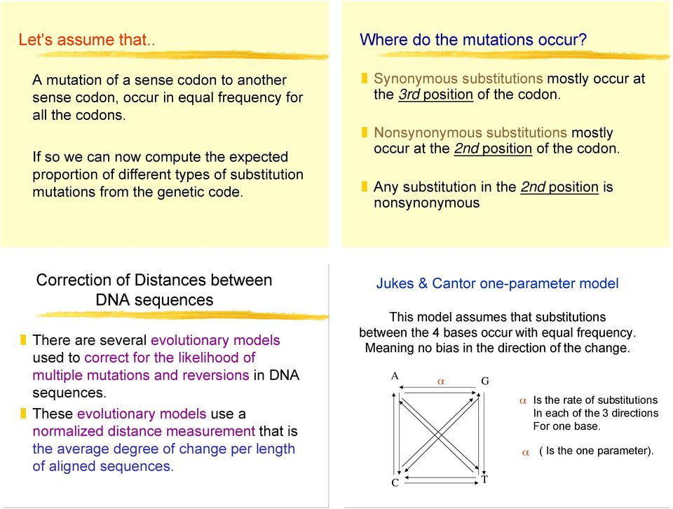 Nonsynonymous substitutions mostly occur at the 2nd position of the codon.
