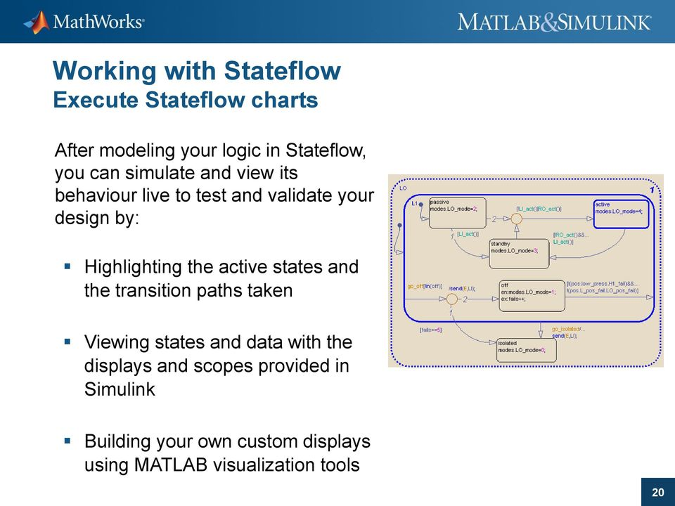 the active states and the transition paths taken Viewing states and data with the displays