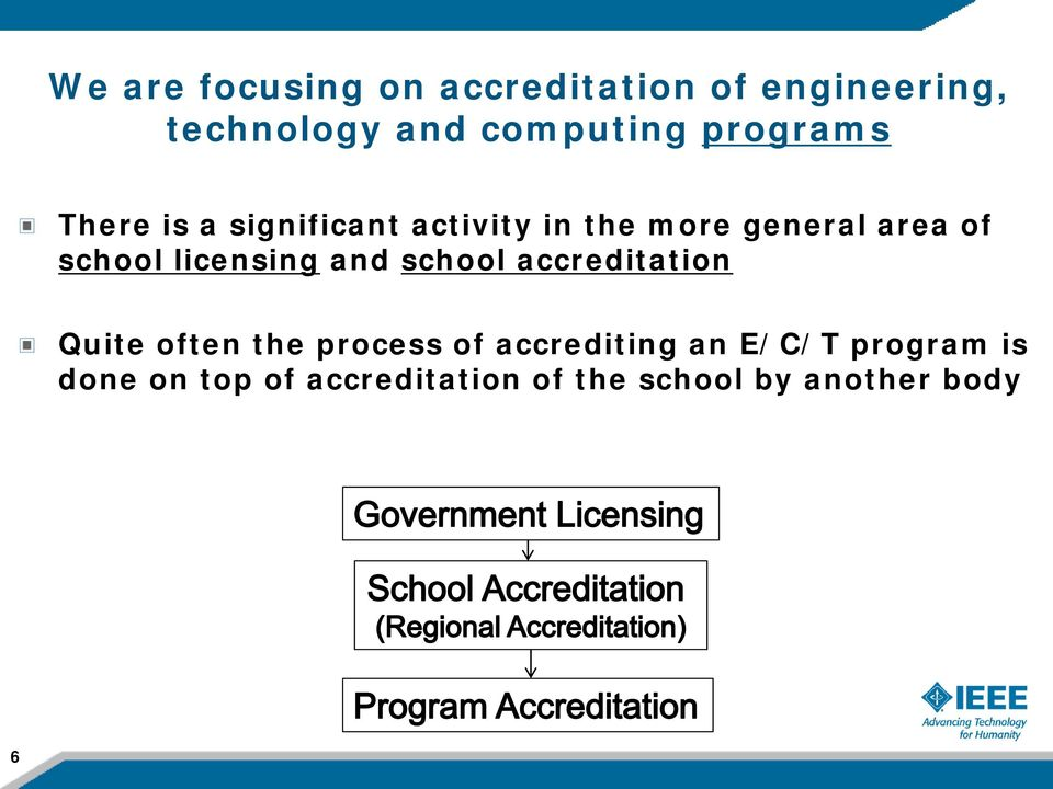 licensing and school accreditation Quite often the process of accrediting