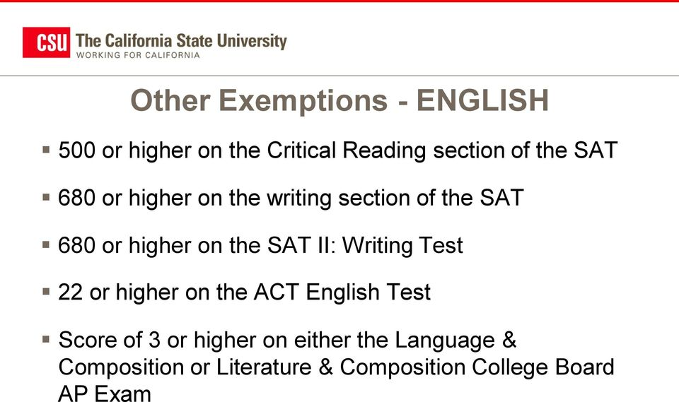 II: Writing Test 22 or higher on the ACT English Test Score of 3 or higher on