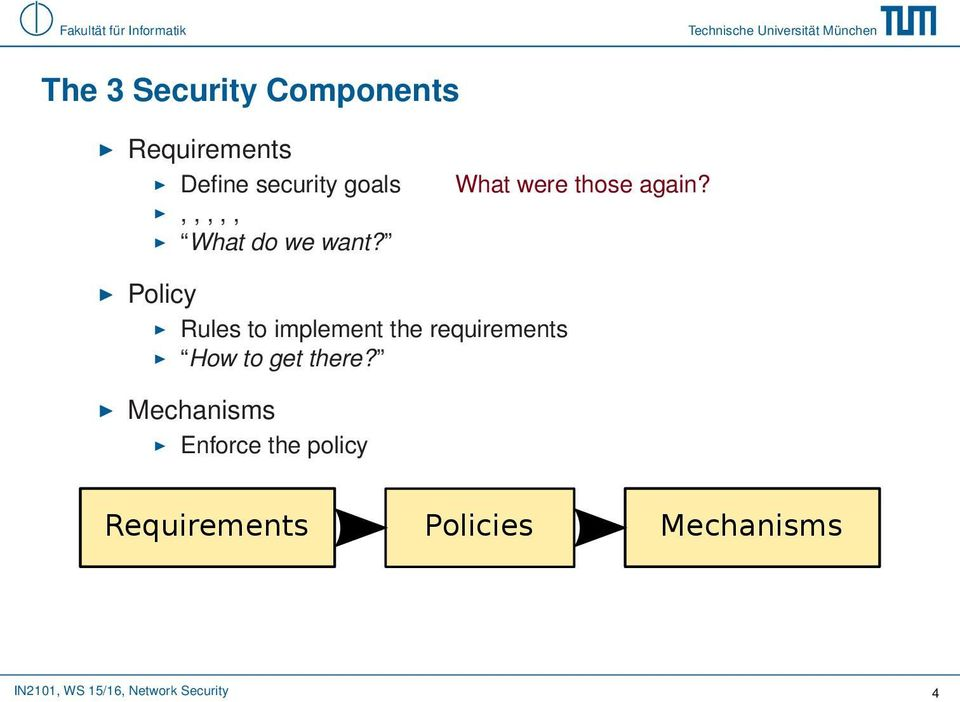 Policy Rules to implement the requirements How to get there?