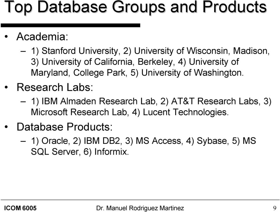 Research Labs: 1) IBM Almaden Research Lab, 2) AT&T Research Labs, 3) Microsoft Research Lab, 4) Lucent Technologies.