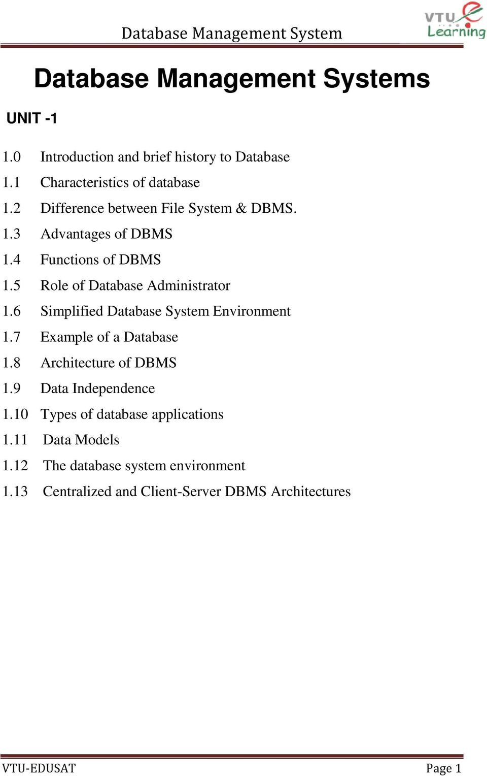 6 Simplified Database System Environment 1.7 Example of a Database 1.8 Architecture of DBMS 1.9 Data Independence 1.