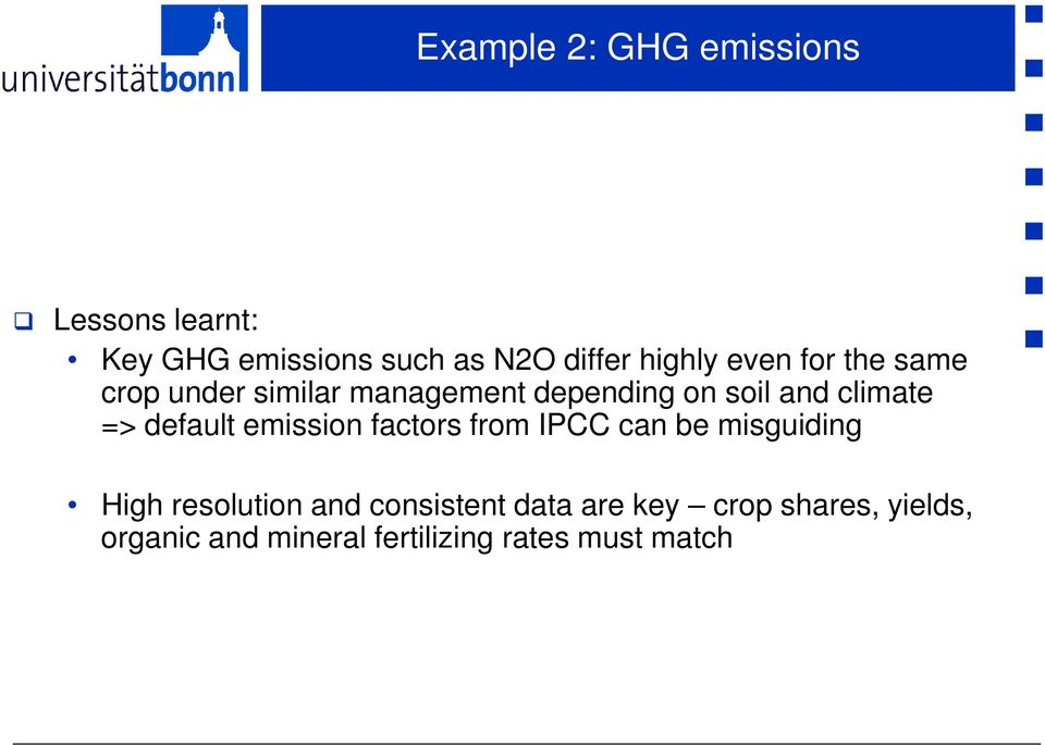 climate => default emission factors from IPCC can be misguiding High resolution