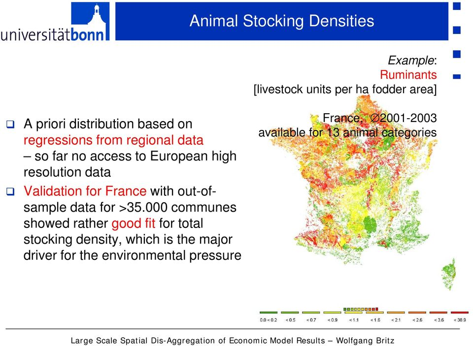 000 communes showed rather good fit for total stocking density, which is the major driver for the environmental pressure