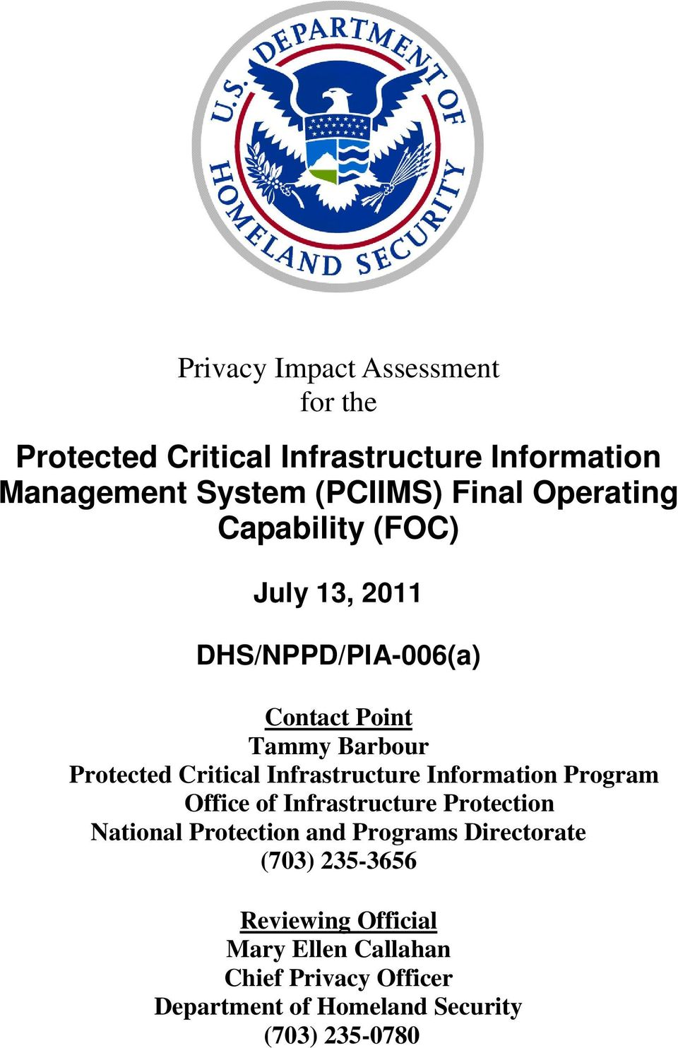 Information Program Office of Infrastructure Protection National Protection and Programs Directorate