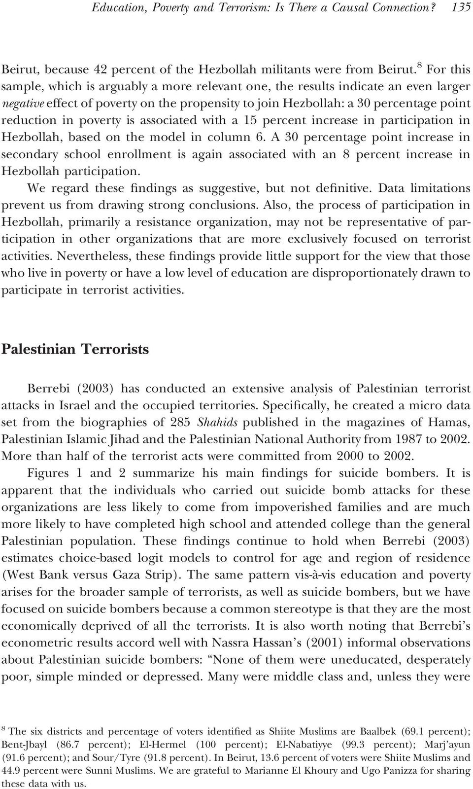 poverty is associated with a 15 percent increase in participation in Hezbollah, based on the model in column 6.