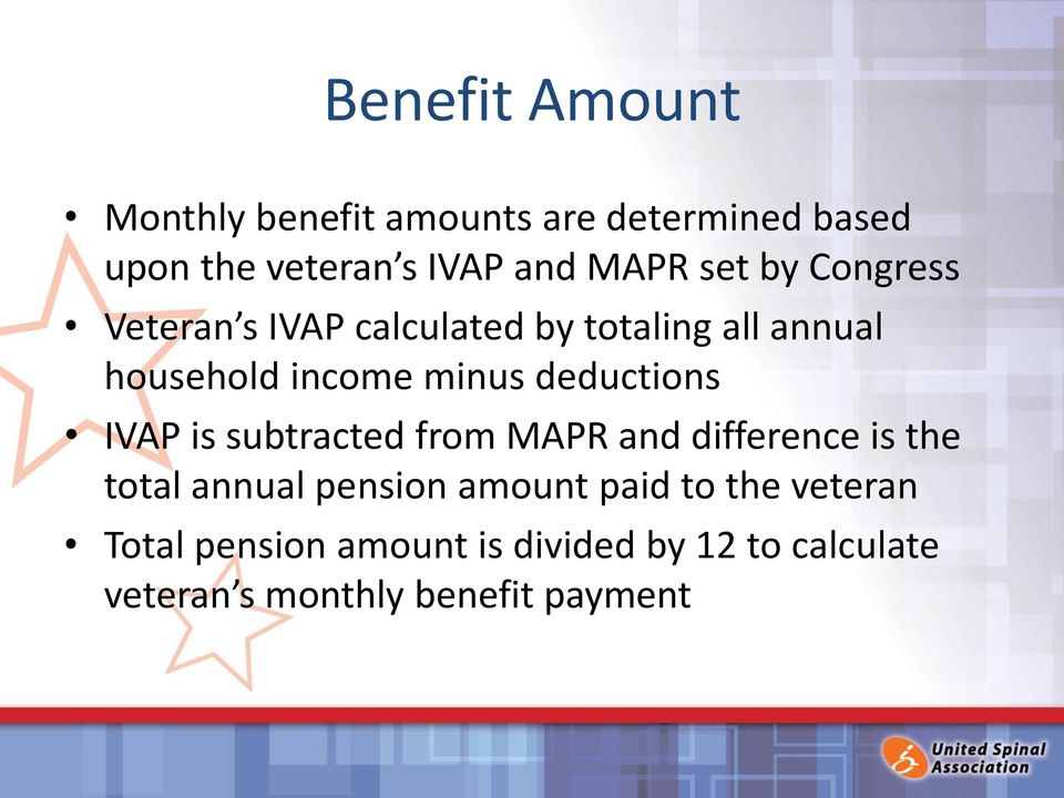deductions IVAP is subtracted from MAPR and difference is the total annual pension amount