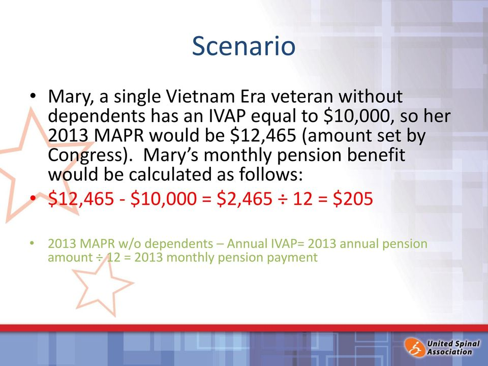 Mary s monthly pension benefit would be calculated as follows: $12,465 - $10,000 =