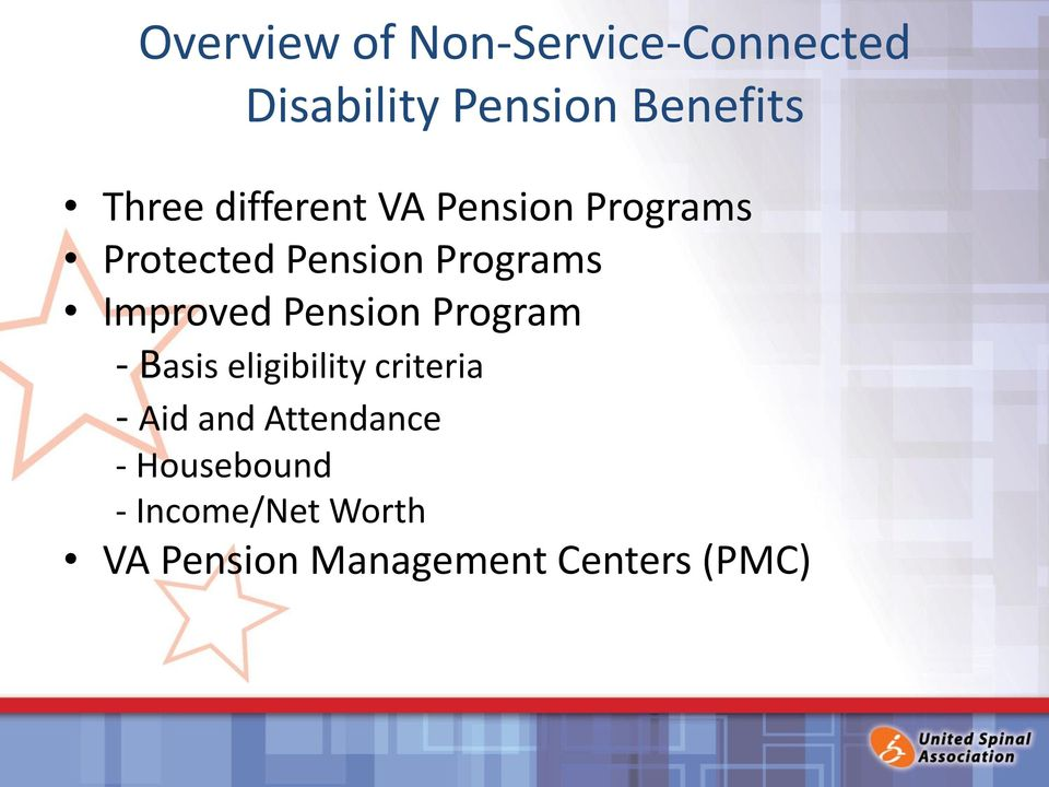 Improved Pension Program - Basis eligibility criteria - Aid and