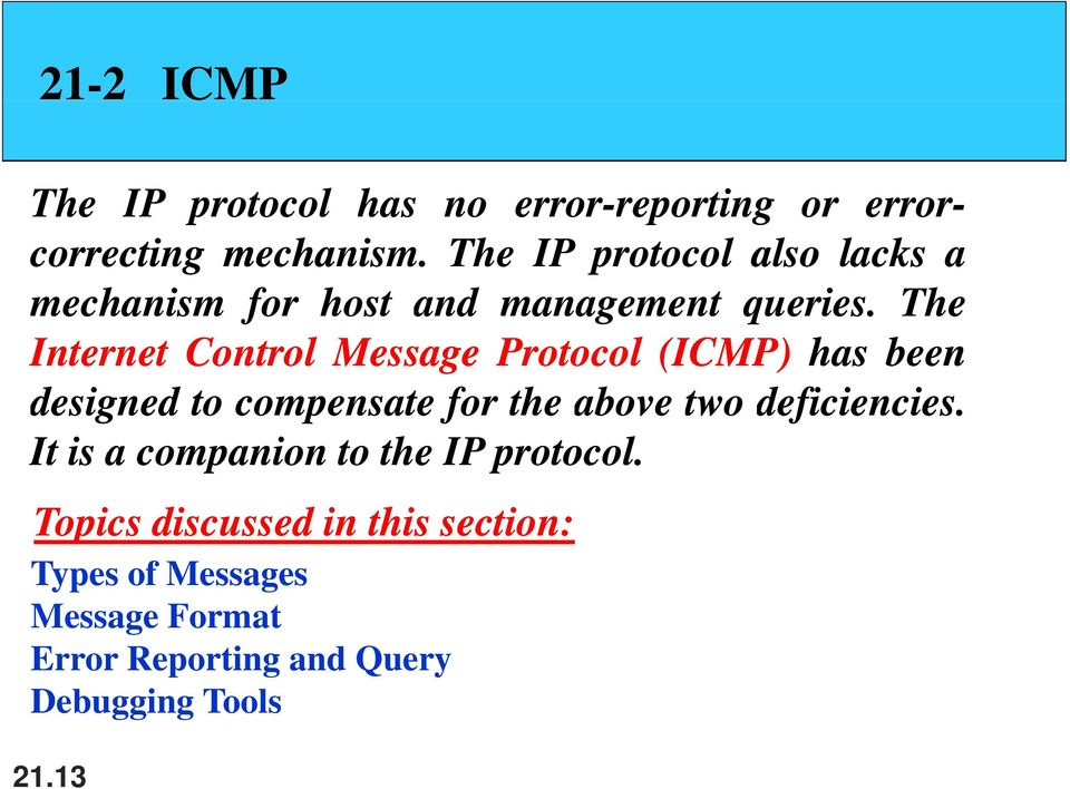 The Internet Control Message Protocol (ICMP) has been designed to compensate for the above two