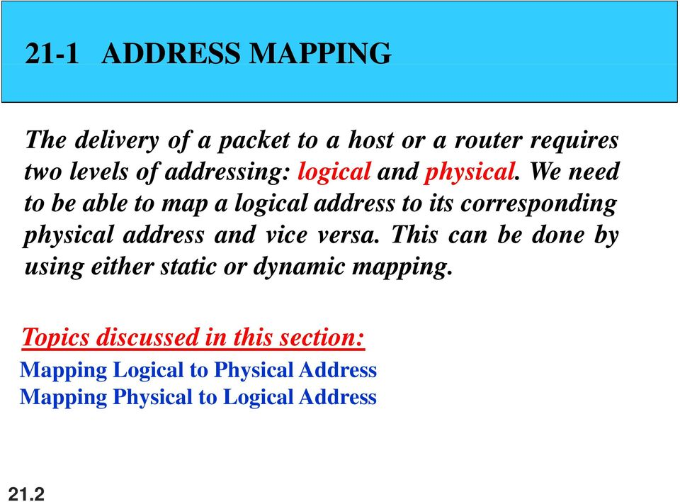 We need to be able to map a logical address to its corresponding physical address and vice versa.