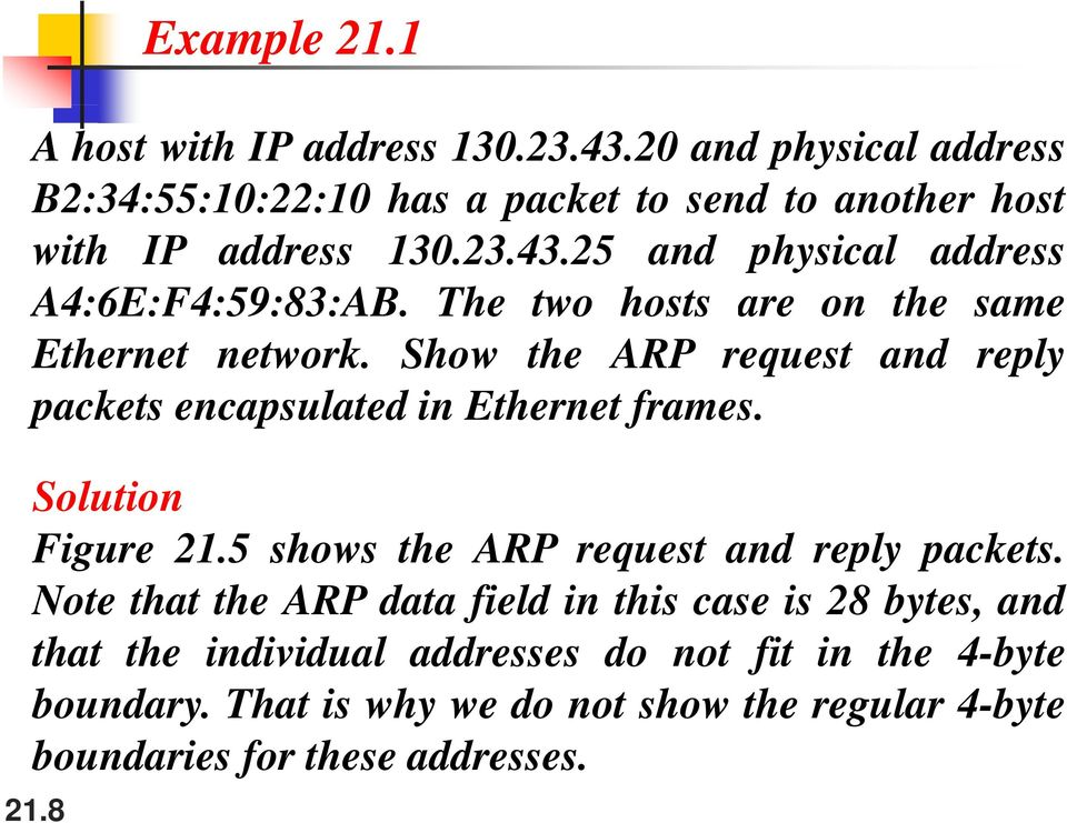 Show the ARP request and reply packets encapsulated in Ethernet frames. Solution Figure 21.5 shows the ARP request and reply packets.