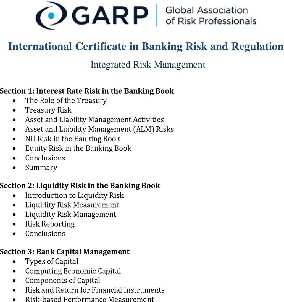 Summary Section 2: Liquidity Risk in the Banking Book Introduction to Liquidity Risk Liquidity Risk Measurement Liquidity Risk Management Risk Reporting Conclusions