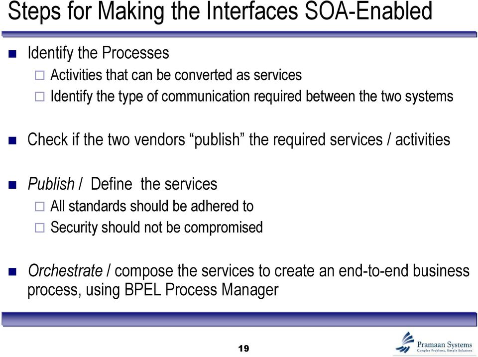 services / activities Publish / Define the services All standards should be adhered to Security should not be